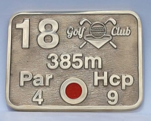 PLACA DISTANCIA GOLF BRONCE